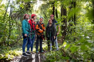 Group-of-people-with-guide-in-forest
