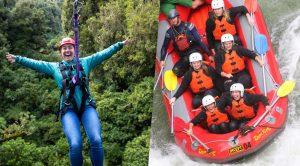 Woman-on-zipline-group-in-raft-going-down-waterfall
