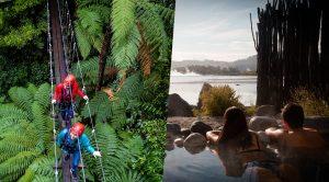 Two-women-walking-across-bridge-above-forest-couple-soaking-in-spa