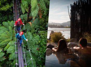 Women-walking-across-swingbridge-above-forest-couple-soaking-in-spa