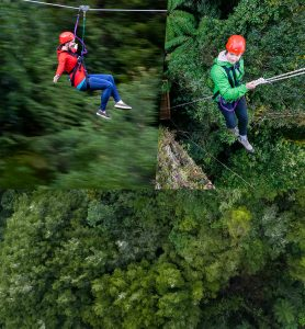 Man-and-woman-ziplining