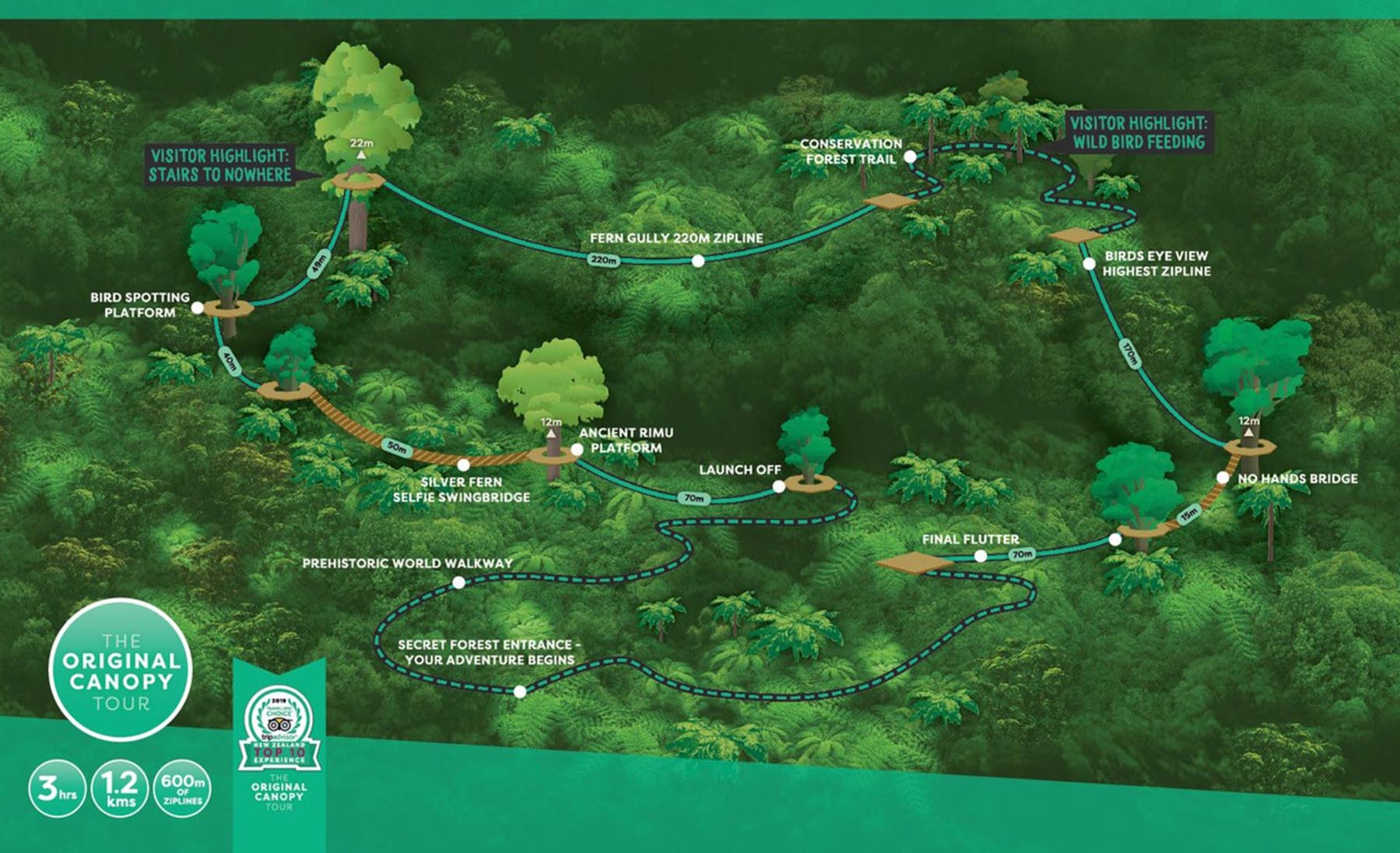 Original Canopy Tour – half screen map highlight